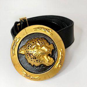 VINTAGE NI 95 Gold Tiger Buckle Black Leather Belt